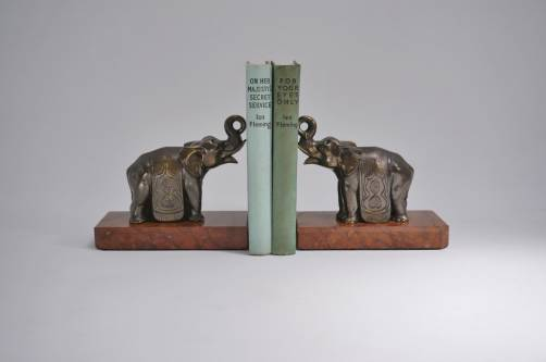 Pair Art Deco bookends elephants, 1930`s ca, French