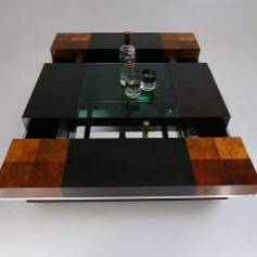 Willy Rizzo bar table, burl wood veneer, glass, chrome, 1970`s ca, Italian
