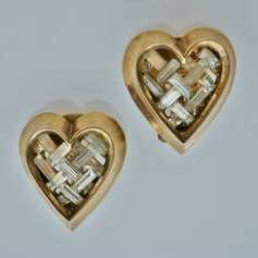 Trifari heart earrings by Alfred Philippe, in gold gilt, 1951, American