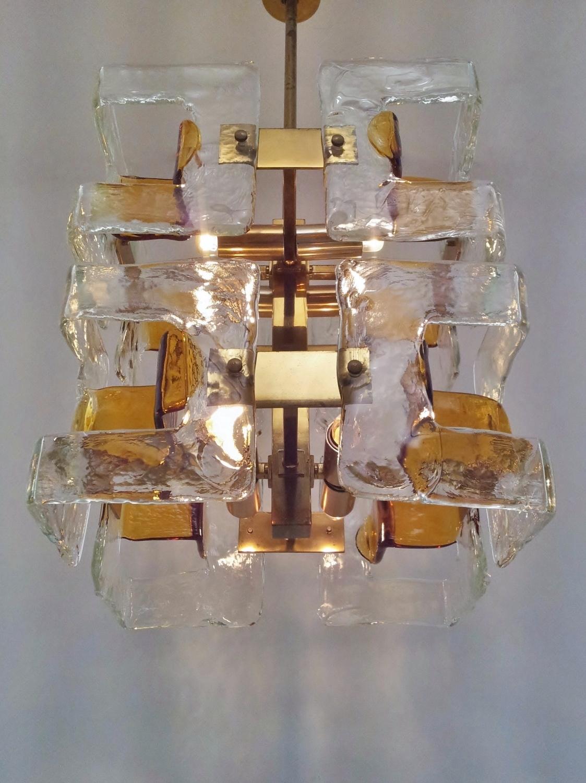 Handblown Glass rods chandelier by Gaetano Sciolari for Lightolier
