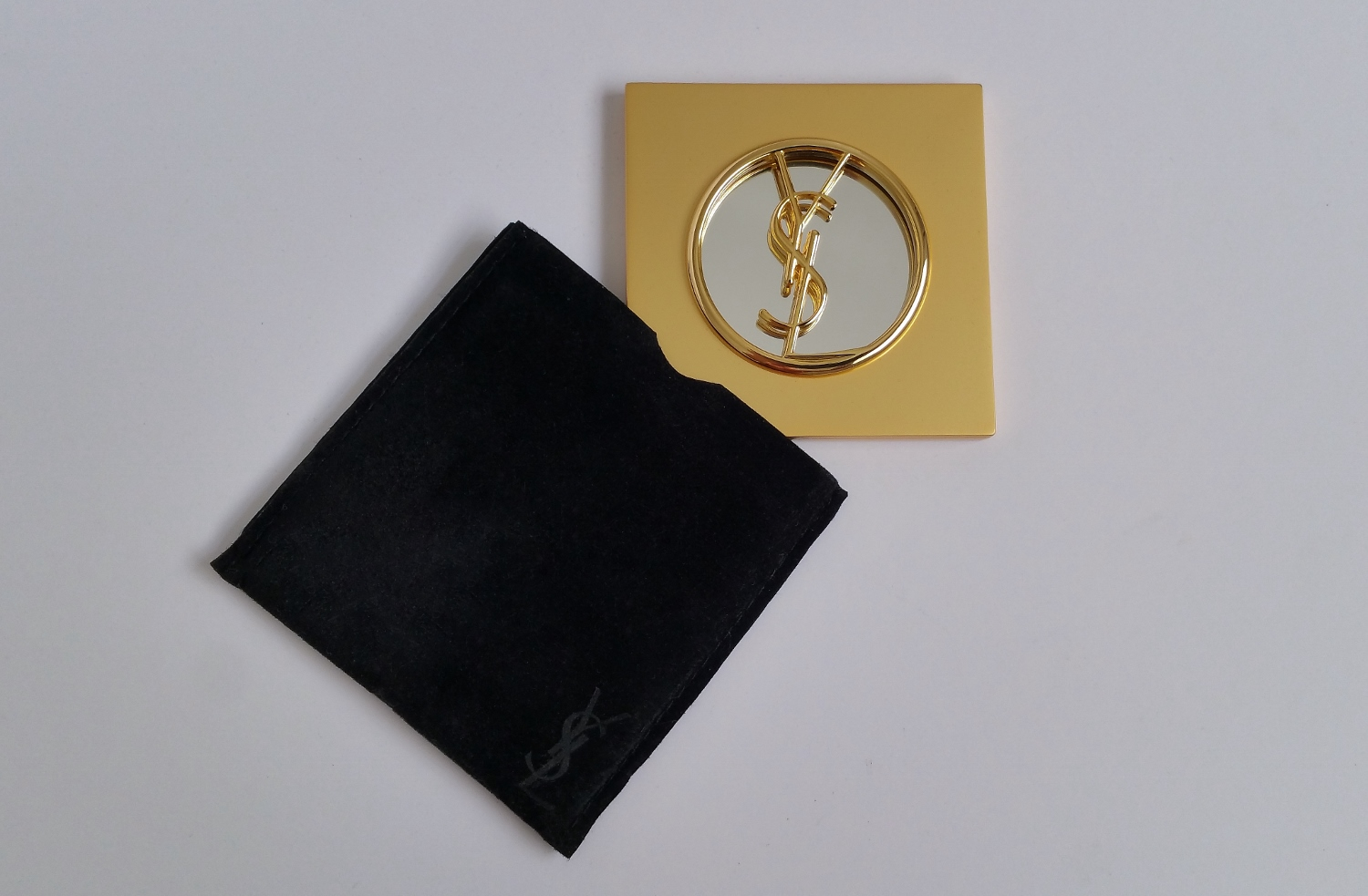 ysl compact makeup mirror gilt 1980s ca french in