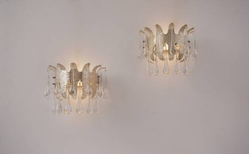 Ernst Palme wall lights for Palwa, a pair, silver plated & crystal, 1960`s, German