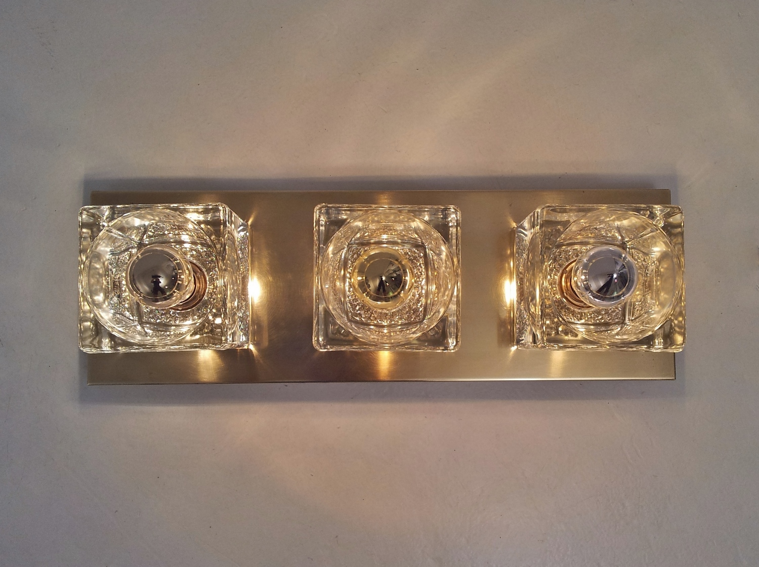 Peill & Putzler pair vintage wall lights brass & glass cubes, 1970`s ca, German in Vintage Wall ...