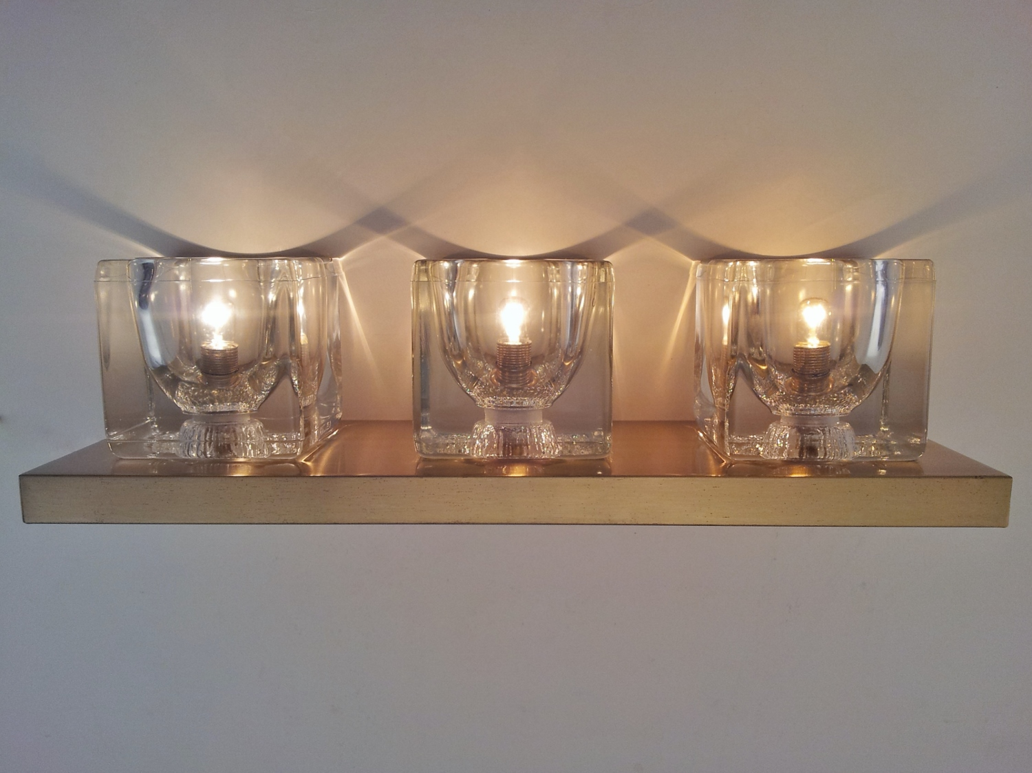 Glass Cube Wall Lights : Peill & Putzler pair vintage wall lights brass & glass cubes, 1970`s ca, German in Vintage Wall ...