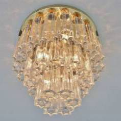 1970`s brass chandelier with glass shades by Limburg, German