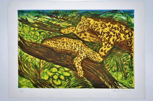 Malcolm Morley print Leopards from the Odysseys of Enoch Suite, 1986, American