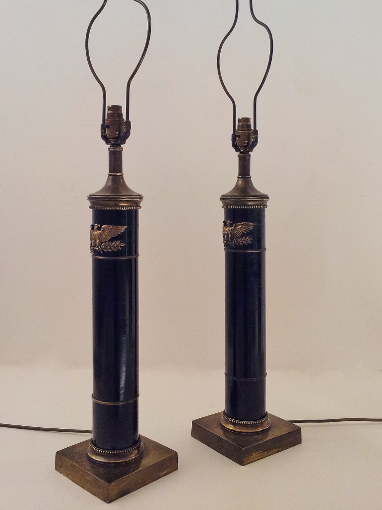 Pair Vintage Military Spread Eagle Table Lamps Black
