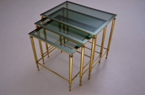 Maison Jansen nesting tables brass frames & teal trimmed mirror, 1950`s, French