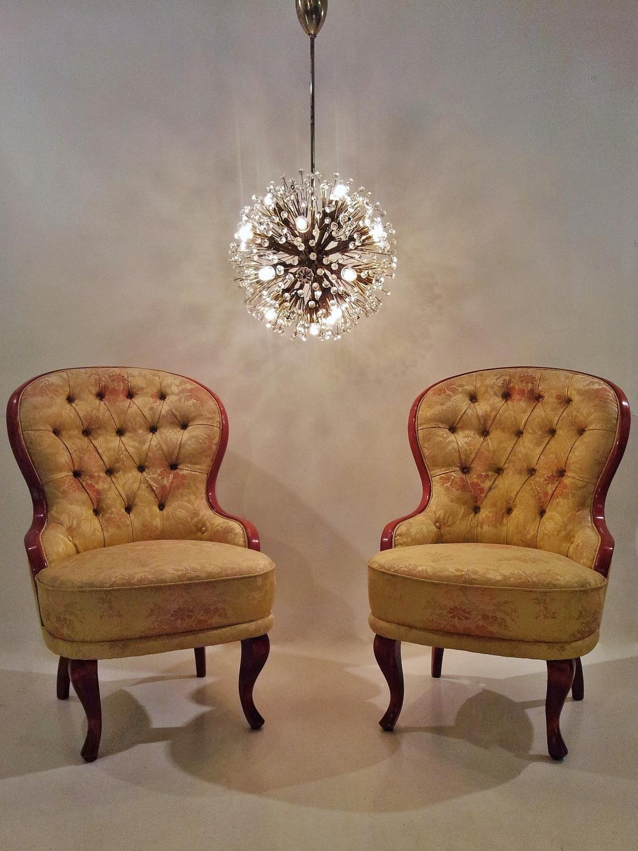 Pair antique Emma Slipper chairs 1950s ca