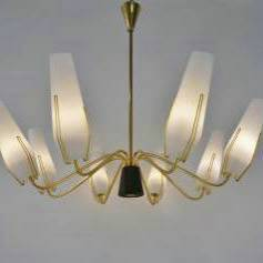 Stilnovo brass chandelier with opaline glass, 1950`s Italian
