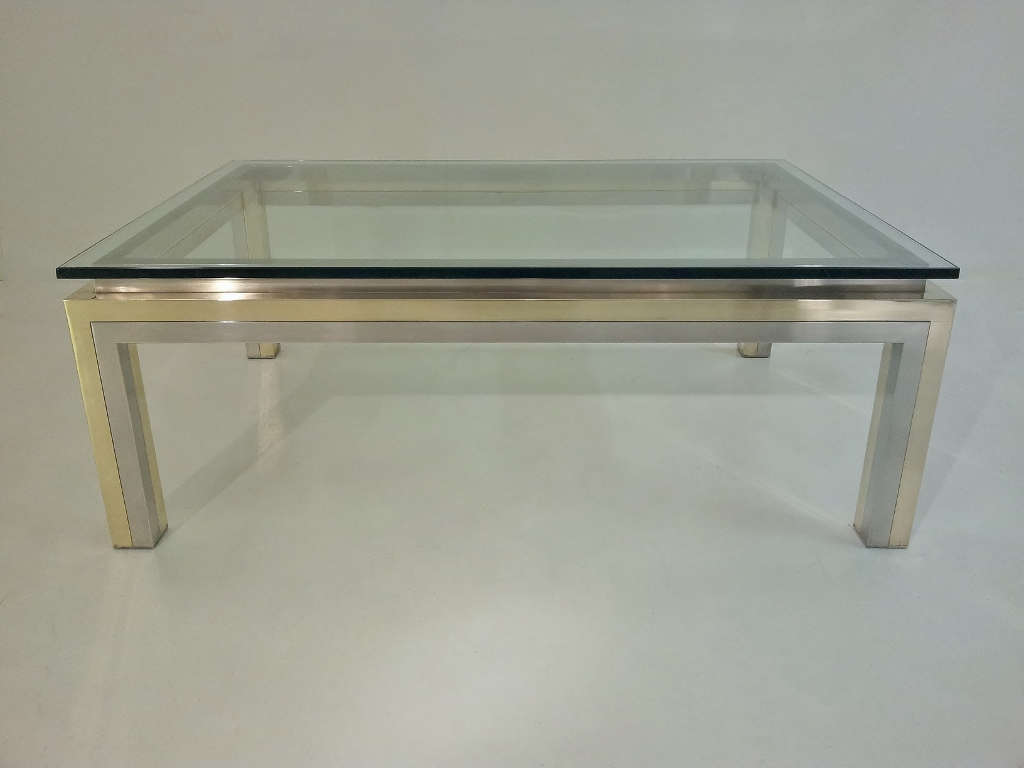 Maison Jansen Vintage Brass Chrome Glass Coffee Table 1970 S Ca French In Maison Jansen