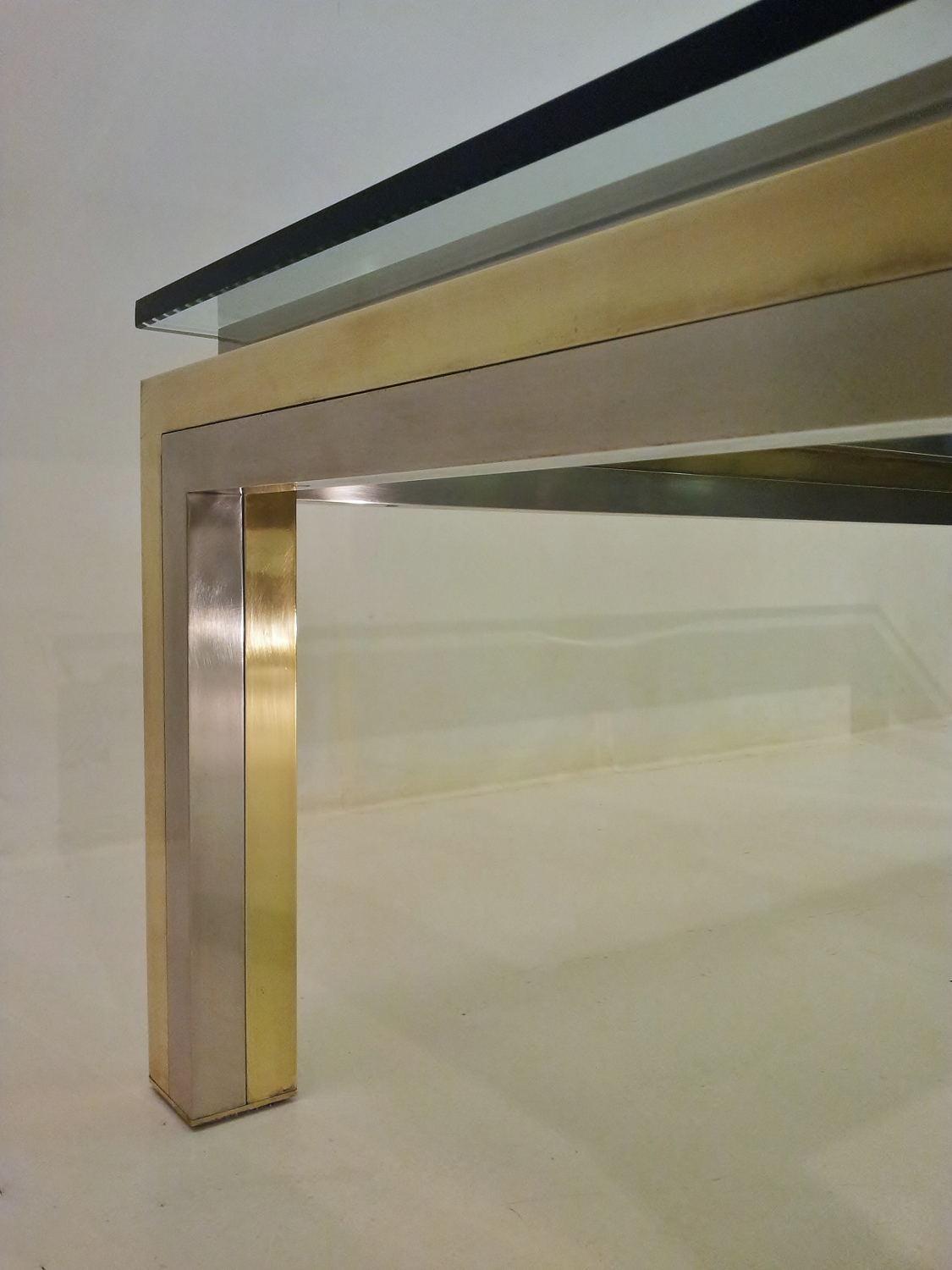 Jansen Coffee Table Maison Jansen Vintage Brass Chrome Glass Coffee Table 1970s