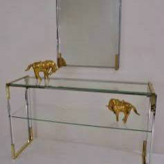 Pierre Cardin console table & mirror, chrome, gilt & Lucite, 1970`s French
