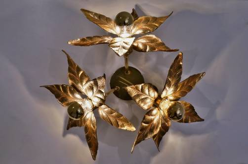 Large brass flowers ceiling light by Massive, 1970`s ca, Belgian