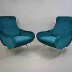 Pair Marco Zanuso style Lady armchairs, newly made, Italian