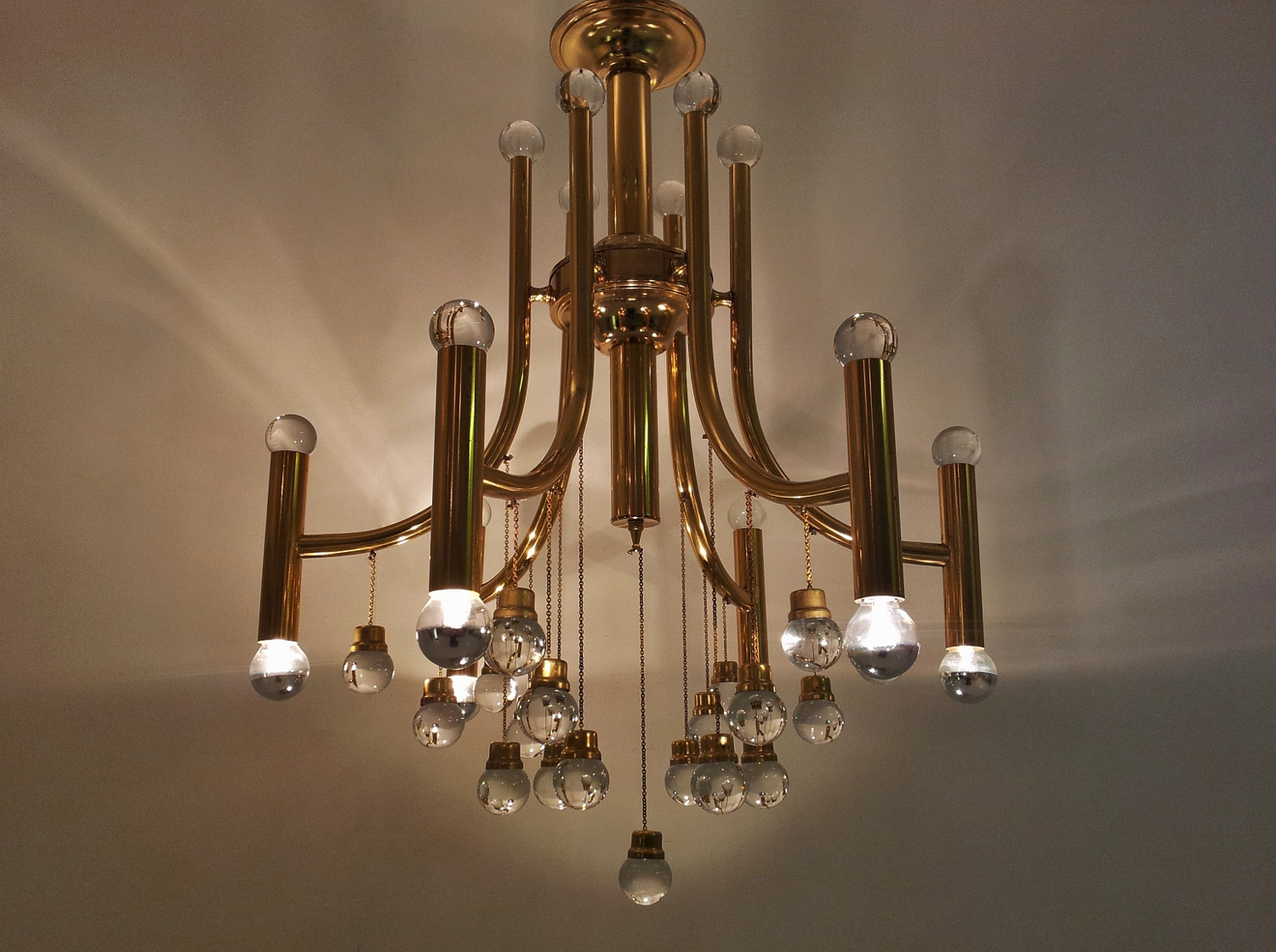 Stilnovo Vintage Brass Chandelier With Glass Balls 1970 S