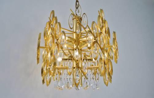 Lobmeyr chandelier gold gilt metal swarovski crystals1970s lobmeyr chandelier gold gilt metal swarovski crystals1970s austrian aloadofball Image collections