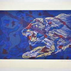 Malcolm Morley print `'French Foreign Legionnaires Being Eaten by a Lion`