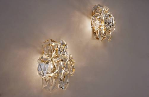 Kinkeldey pair wall lights gold plated gilt & crystals, 1970`s ca, German