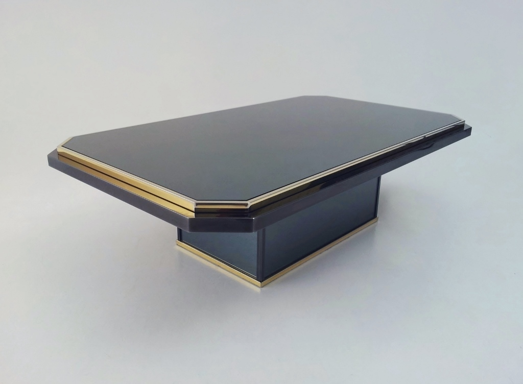 roger vanhevel vintage coffee table mirrored patinated