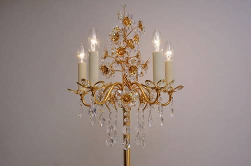 Palwa floor lamp, gilt brass frame, crystal flowers & beads, 1970`s ca, German