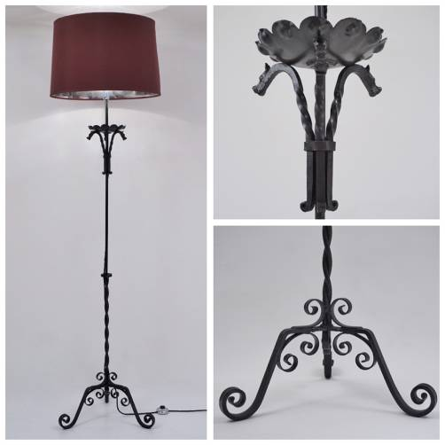 Edouard Schenck lamp iron with dragons, 1930`s ca, French