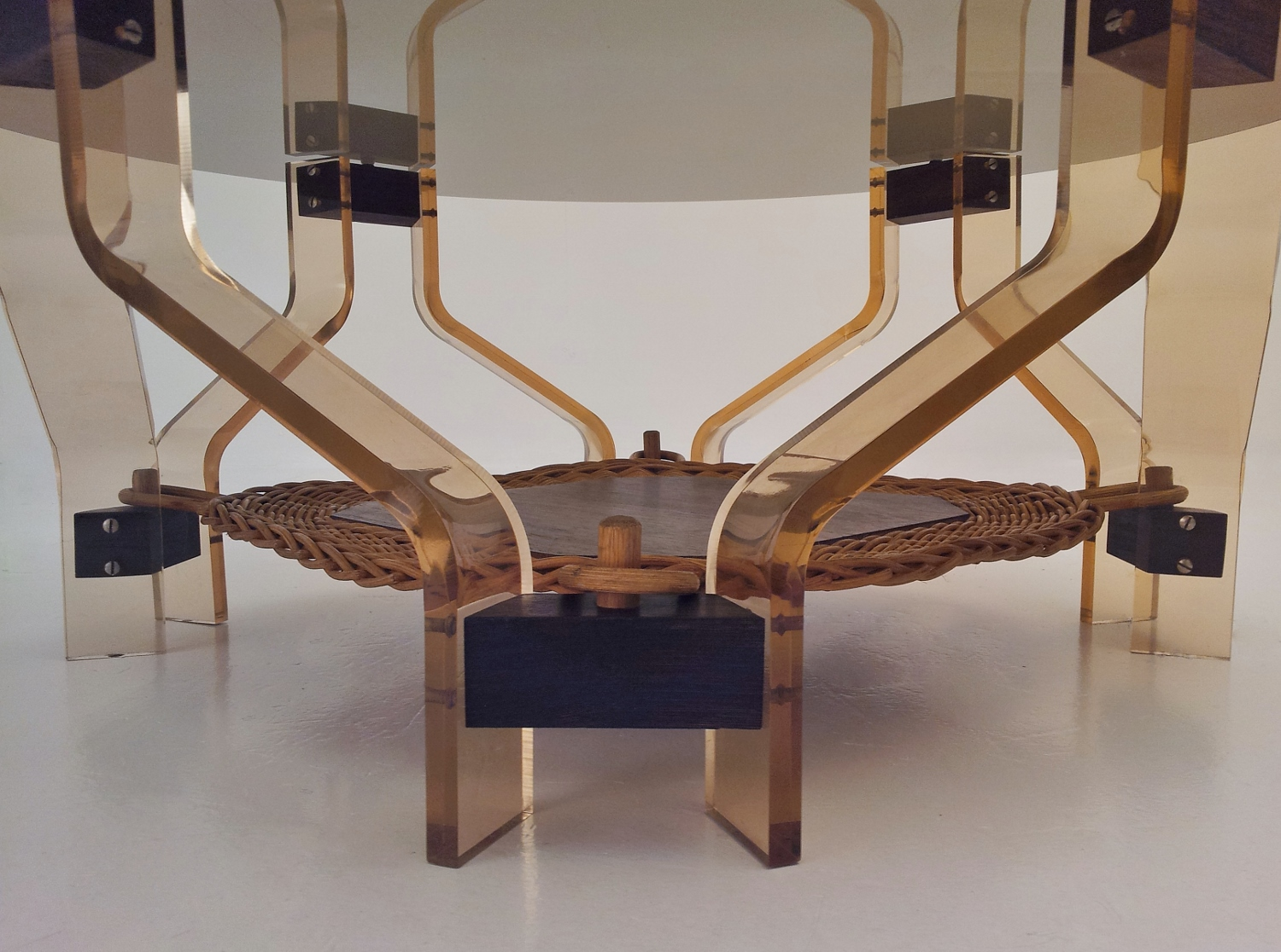 Lucite, wood & glass vintage sculptural coffee table with rattan shelf, 1970`s ca, Danish in
