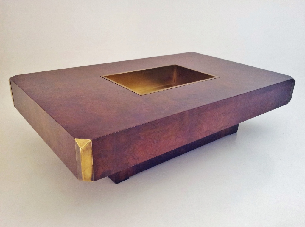 Willy rizzo coffee table alveo burl walnut 1972 for Table willy rizzo