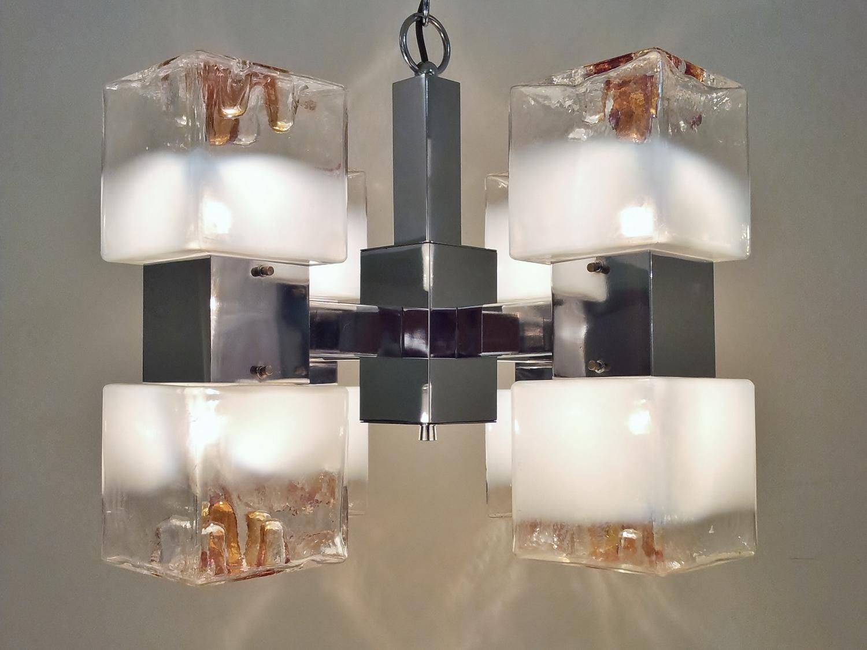 Gaetano Sciolari Cubist Glass Amp Metal Chandelier 1970 S