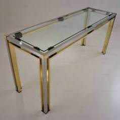 Romeo Rega console table, 160 cm, brass & chrome, 1970`s Italian
