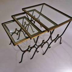 Rene Drouet nesting tables, iron, bronze & glass, 1950`s ca, French