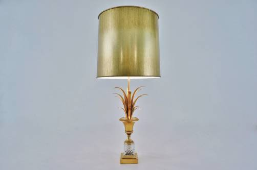 Maison Charles lamp, palmtree lamp, gold gilt bronze, 1970`s French