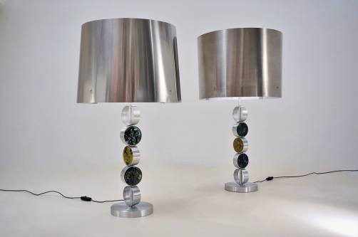 RAAK table lamps, large complementary pair, aluminum, steel & glass, 1972, Dutch
