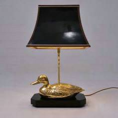 Brass duck table lamp, Maison Charles, 1970`s ca, French