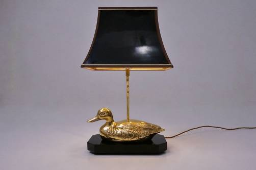 Brass duck table lamp maison charles 1970s ca french