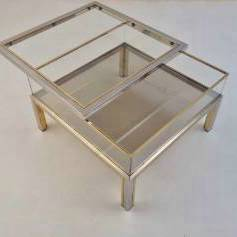 Romeo Rega signed vintage coffee table sliding top display, brass & chrome, 1970`s ca, Italian