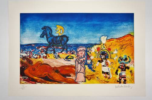 Malcolm Morley print 'Cradle of Civilization with American Woman', 1984, American