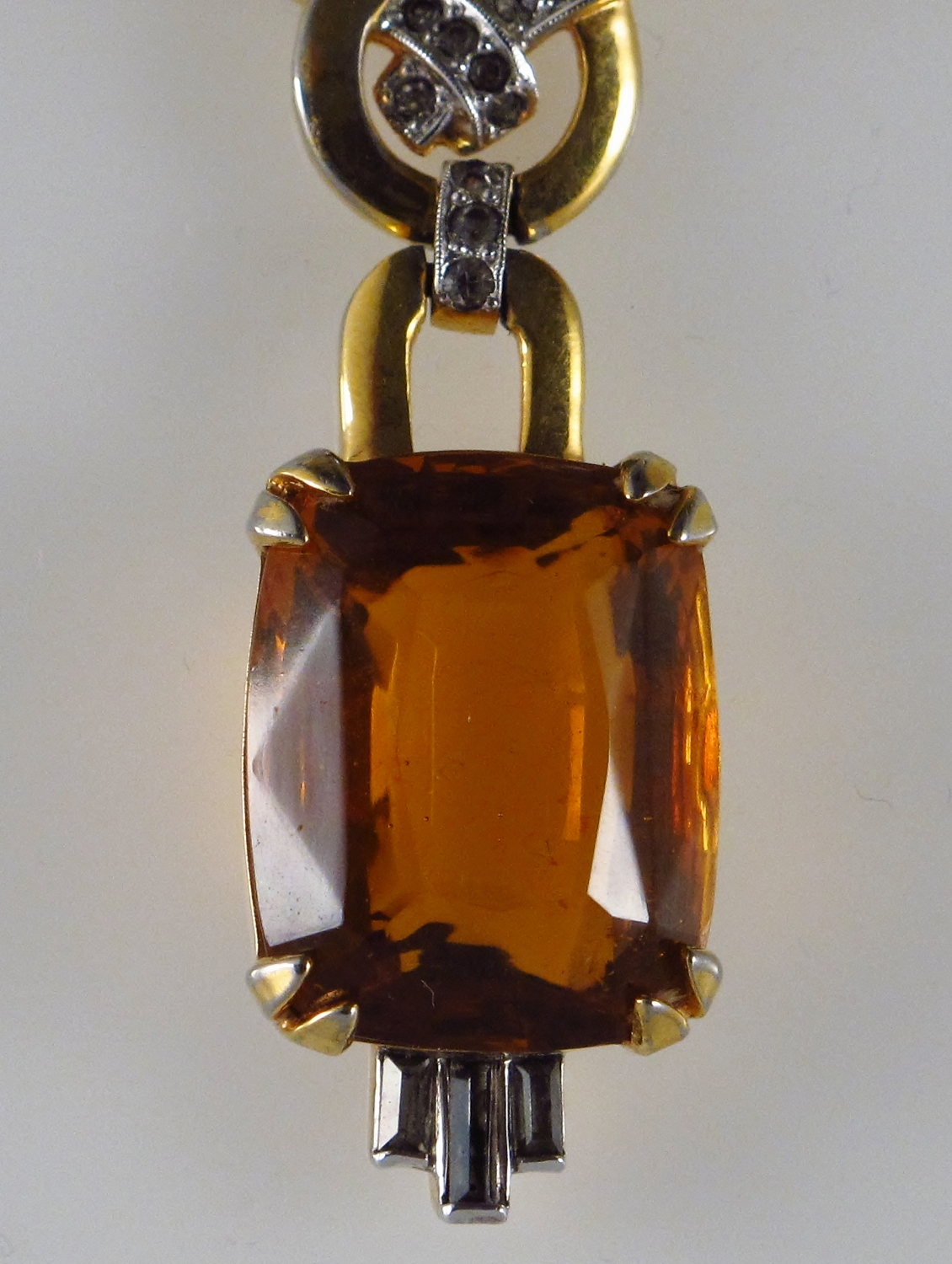 Mazer Vintage Gold Plated Faux Topaz And Rhinestones Art Deco Style