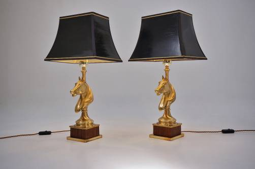 Maison Charles horse lamps pair brass & wood, 1970`s ca, French