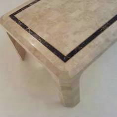 Maitland-Smith vintage coffee table, marble & brass, 1980`s ca, American