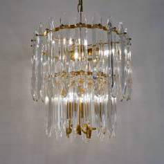 Sciolari brass chandelier with crystals, 1970`s ca, Italian