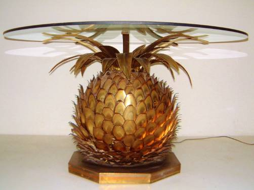 Maison Jansen Vintage Dining Table With Pineapple Lamp