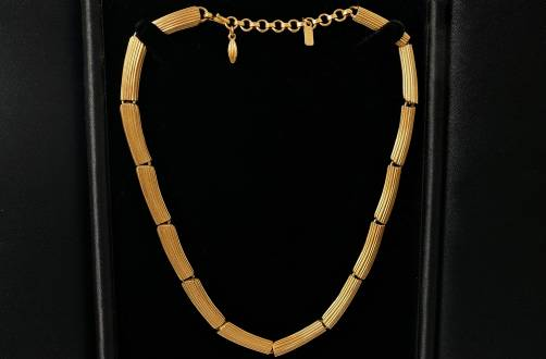 Monet Modernist gold plated gilt necklace 1950`s ca, American